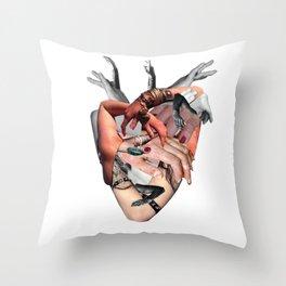Heart shaped fist Throw Pillow