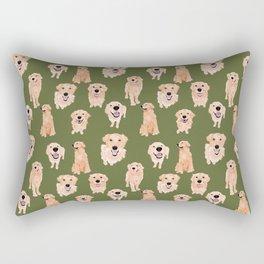 Golden Retriever on Green Rectangular Pillow