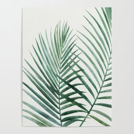 Emerald Palm Fronds Watercolor Poster