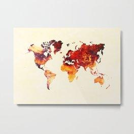 world map 89 art red Metal Print