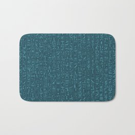 Hieroglyphics Moonstone BLUE / Ancient Egyptian hieroglyphics pattern Bath Mat