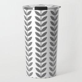 Grey Scandinavian leaves pattern Travel Mug
