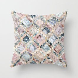 Marble Moroccan Tile Pattern Throw Pillow