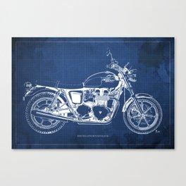 2010 Triumph Bonneville SE, motorcycle blueprint, husbands gift, offer, original poster, fathers day Canvas Print