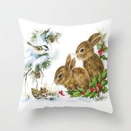 Vintage Christmas Bunnies Throw Pillow