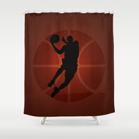 lakers Shower Curtains featuring SLAM DUNK - JORDAN by alexa