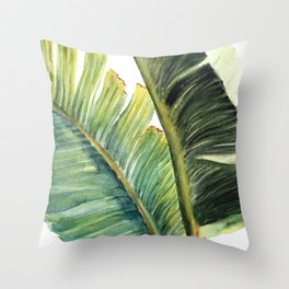 Watercolor Palm Leaves Tropical Art Throw Pillow