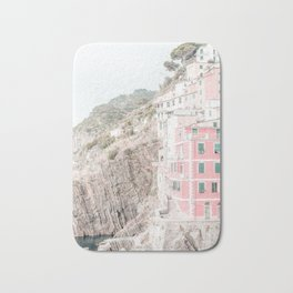 Positano, Italy pink-peach-white travel photography in hd. Bath Mat