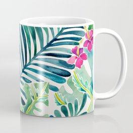 Lush Tropical Fronds & Hibiscus Coffee Mug