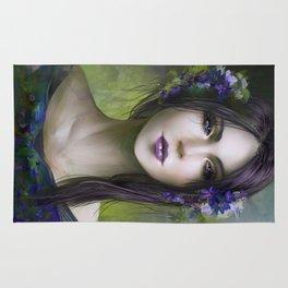Viola - Girl with purple flowers in her hair Rug