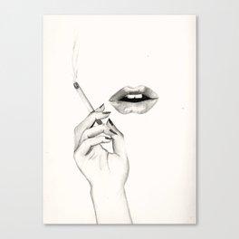 Cigarette Lips Canvas Print