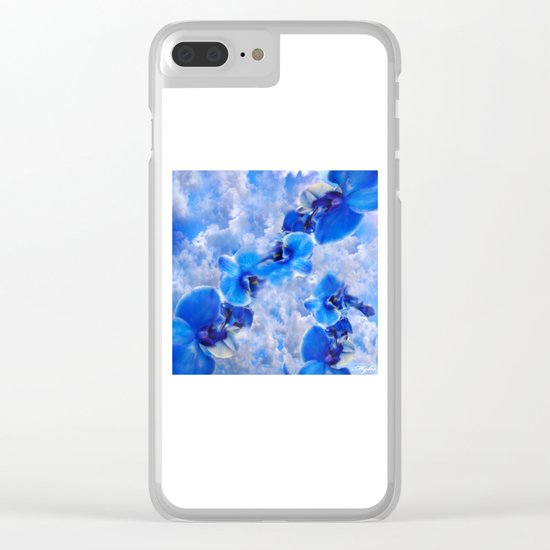 Orchids Blue Clear iPhone Case