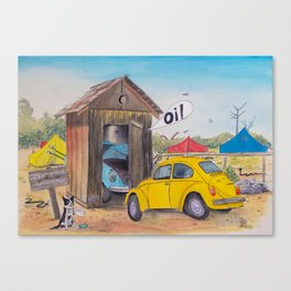 Taxi Bug's Outhouse Drama - Volkys on Camp Canvas Print