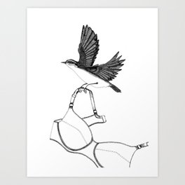 nuthatch absconds with your brassiere Art Print
