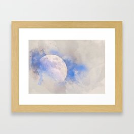 Moon and clouds Framed Art Print