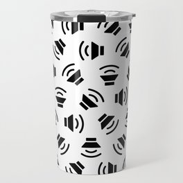 Music On (black on white version) Travel Mug