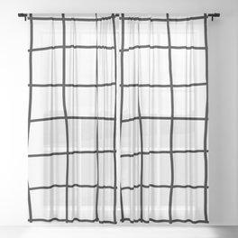 Large Hand Drawn Grid (black/white) Sheer Curtain