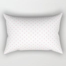 Mini Millennial Pink Pastel Love Hearts on White Rectangular Pillow