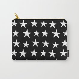 Star Pattern White On Black Carry-All Pouch