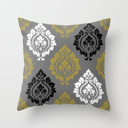 Decorative Damask Pattern BW Gray Gold Throw Pillow