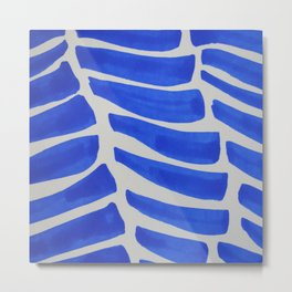 Royal blue Stripes pattern Metal Print