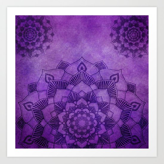 Deep Purple Lotus Mandala Art Print