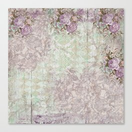 Shabby Chic Lavender Roses Version 2 Canvas Print