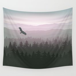 mountain forest in fog and sunrise with stars Wall Tapestry