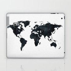 World Map in Black and White Ink on Paper Laptop & iPad Skin