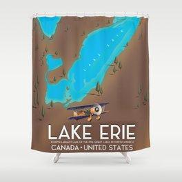 Lake Erie, USA lake Map Shower Curtain