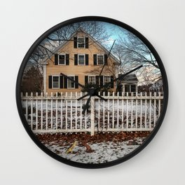 Rhode Island House and Fence and Dinosaurs Wall Clock