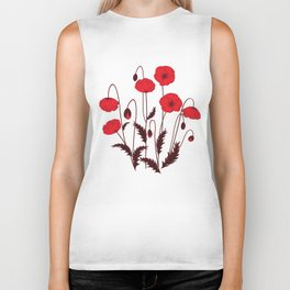 Bright floral pattern on a white background with decorative elements. Biker Tank