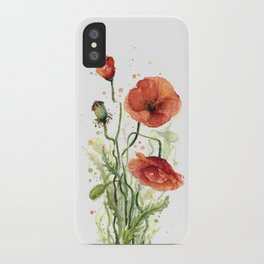 Red Poppies Watercolor Flower Floral Art iPhone Case