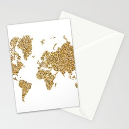 world map white gold Stationery Cards