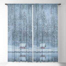 Winter trees - Moody version Sheer Curtain