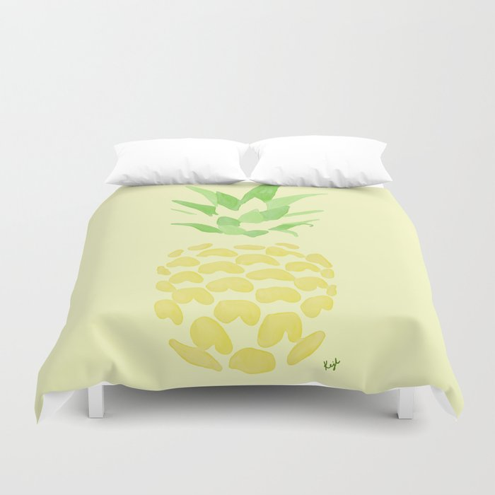 Pineapple watercolour (yellow) Duvet Cover