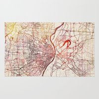 louis tomlinson Area & Throw Rugs featuring Saint Louis by MapMapMaps.Watercolors