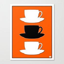 Retro Coffee Print - Black & White Cups on Burnished Orange Background Canvas Print