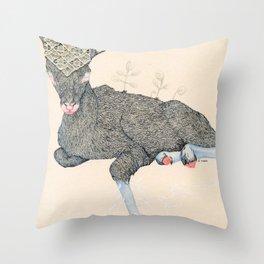 Baby deer botany Throw Pillow