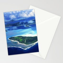 Tropical French Polynesia: View From Open Doors of Helicopter Stationery Cards