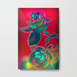 Neon roses Metal Print