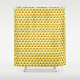 Faux Golden Leather Buttoned Shower Curtain