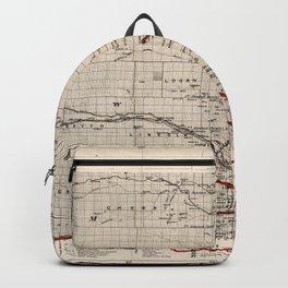 1866 Vintage Map of Nebraska Backpack