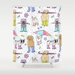 Dotty Downpour Doggie Doodles Shower Curtain