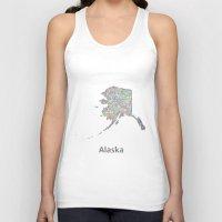 alaska Tank Tops featuring Alaska map by David Zydd