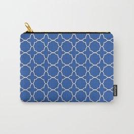 Sapphire Blue Quatrefoil Pattern Carry-All Pouch