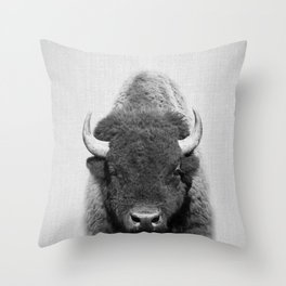 Buffalo - Black & White Throw Pillow