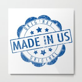 made in usa stamp Metal Print