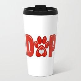 Shiny Red ADOPT Animal Paw Print with  White Heart Travel Mug