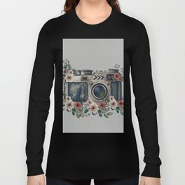 Camera with Summer Flowers Long Sleeve T-shirt